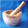 Mortar with pestle from olivewood