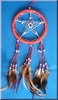 Dreamcatcher with pentagram and glass beads, red